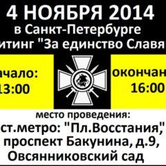 Русский Марш в Санкт-Петербурге пройдёт в форме митинга